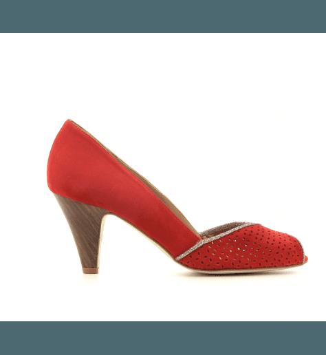 Escarpins à bout ouvert en veau velours rouge New Lovers shoes - KIKI CHERRY