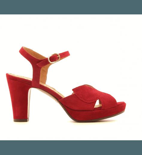 Sandales à talons avec plateformes en veau velour rouge Chie Mihara - EBISA34