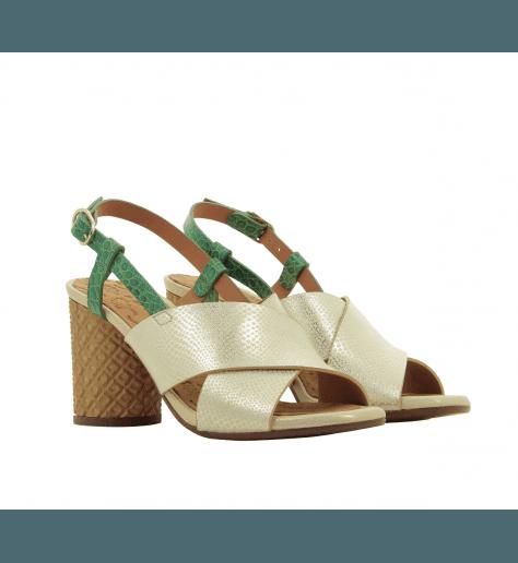 Sandales à talons structurés en cuir blanc métallisé Chie Mihara - GILES