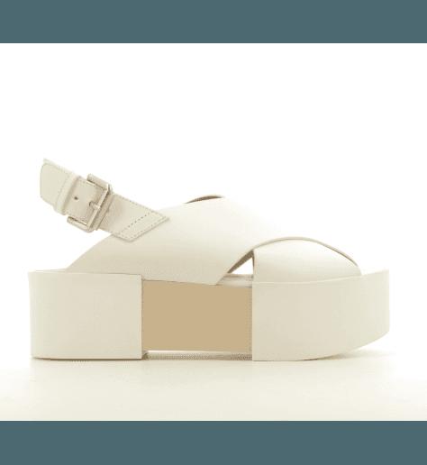 Sandales à semelles épaisses en cuir blanc Vic Matie - 7210D