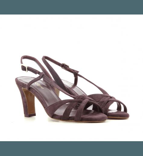 Sandales à talons en veau velours prune Avril Gau - TOP S2