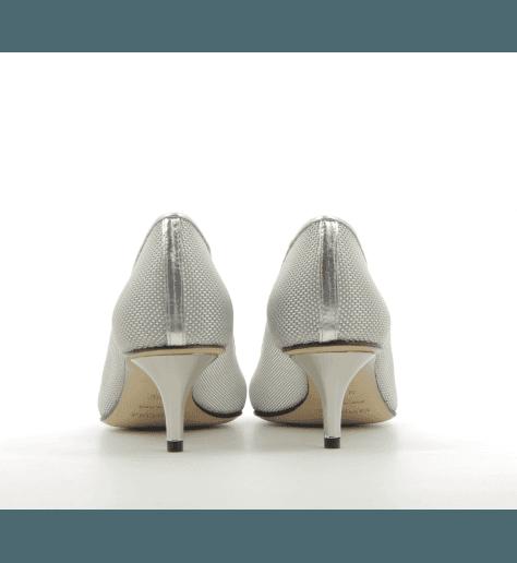 Escarpins pointues en canevas argenté avec talon miroitant Premiata - M5344