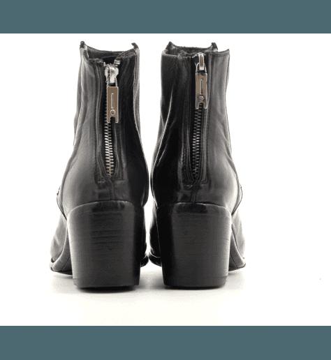 Bottines à talon bottier en cuir noir Lemargo - BU01A