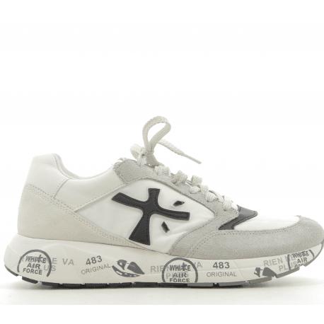 Baskets en textile et cuir blanche Premiata - ZAC ZACD 3056