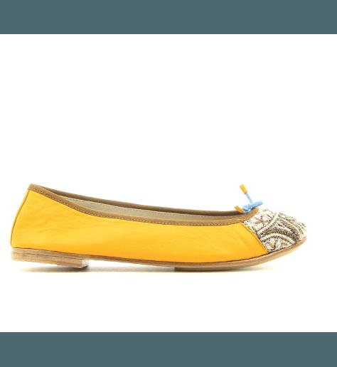 Ballerines en cuir jaune safran Meher Kakalia - BIZI BALLET SAFFRON