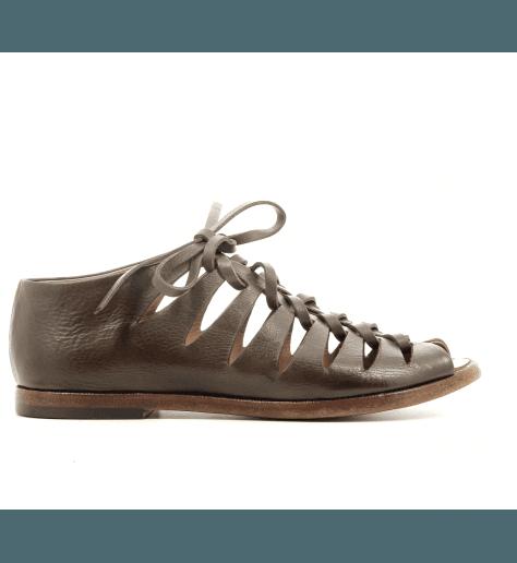 Sandales plates en cuir kaki Alberto Fasciani - XENIA 45013