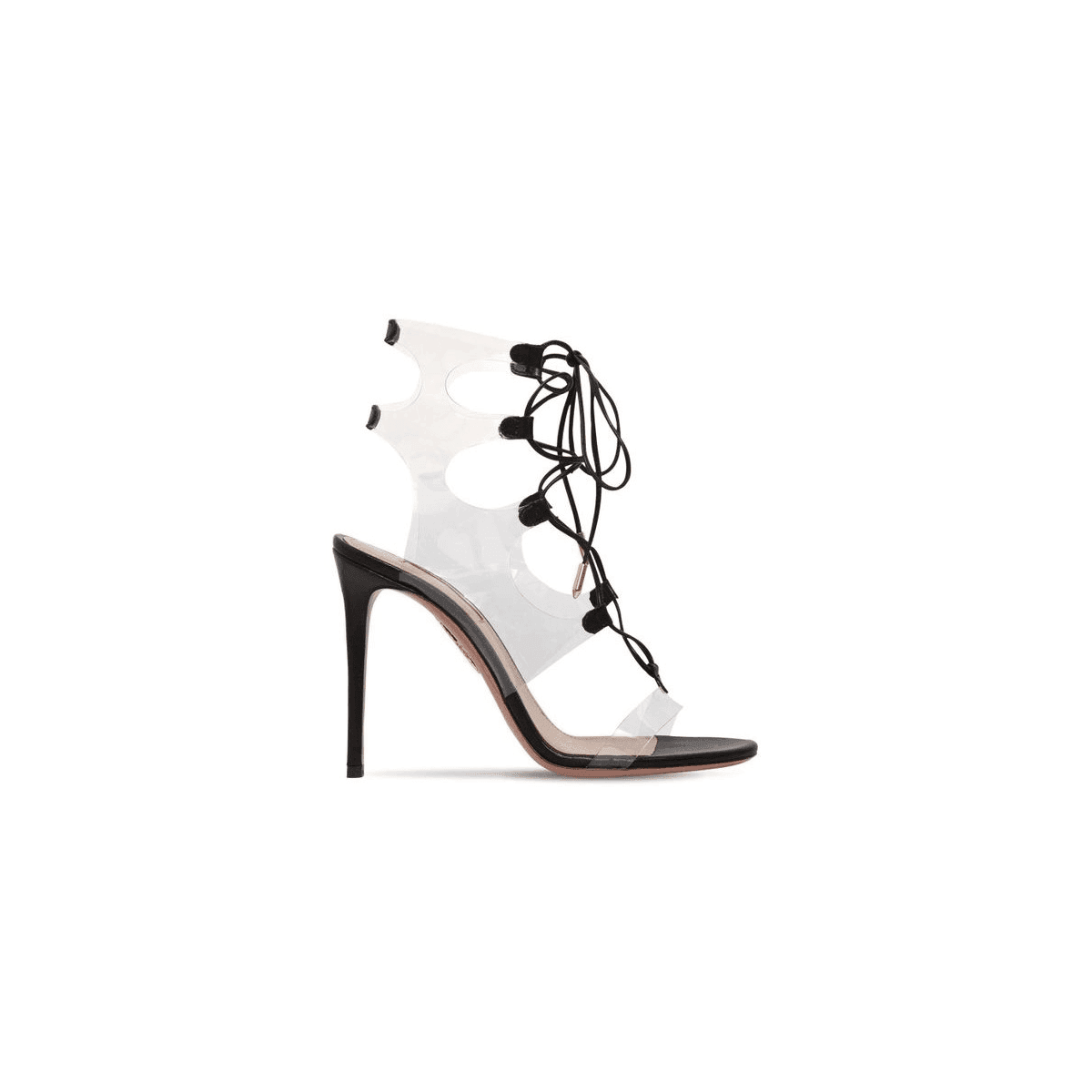 Sandales à talon aiguilles en cuir noir Aquazzura MILOS