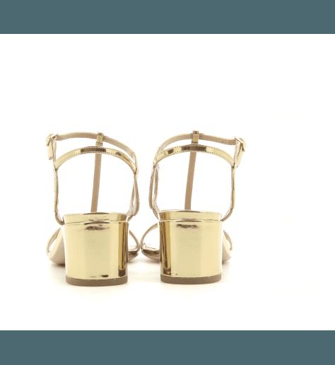 Sandales à talon carré en cuir verni doré Aquazzura - ALMOST BARE SANDAL50