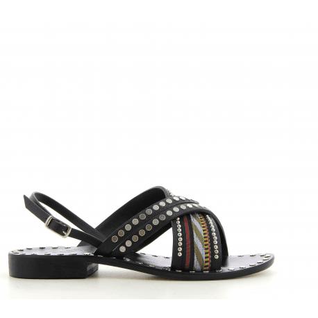 Sandales plates en cuir noir Nanni - S102 NE