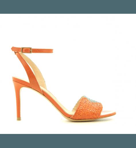Sandales à talons en cuir tressé camel et orange Fauzian Jeunesse - 7472