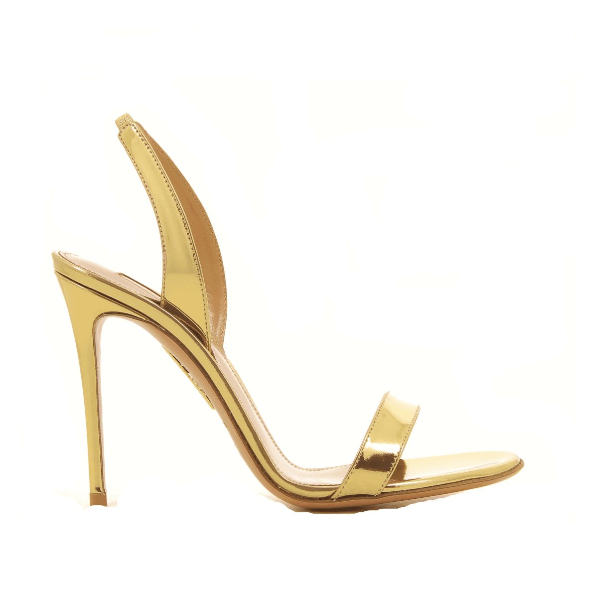 Sandales à talons aiguille en cuir verni doré  Aquazzura - SO NUDE SANDAL105D