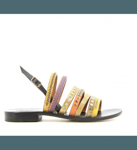 Sandales plates en cuir jaune moutarde Nanni milano - S9 NE