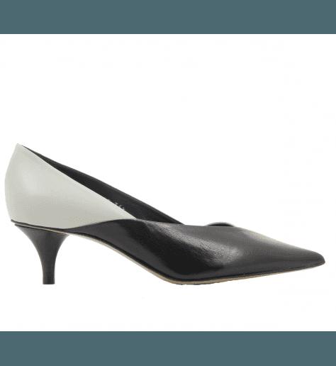 Escarpins pointues en cuir noir et blanc Premiata - M5345