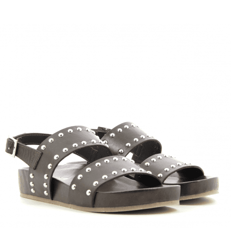 Sandales en cuir marron ITAH- Garrice Collection