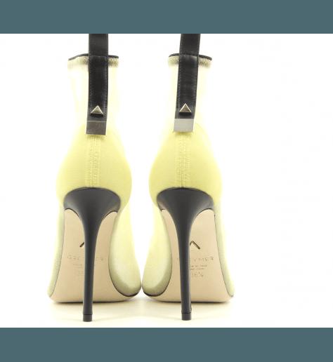 Bottines à bout ouvert en résille jaune fluo Greymer -  400.110 BENNY SUN